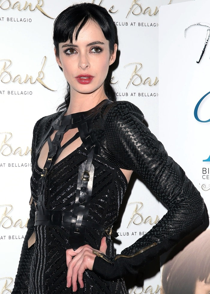 Krysten Ritter decided on this Dominatrix-inspired look for her 31st birthday at the Bank Nightclub