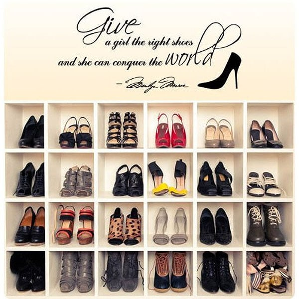 "Marilyn Monroe's ""Give a Girl the Right Shoes..."" Wall Decal"
