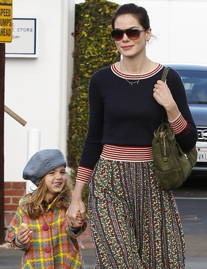 Michelle Monaghan shopping at Fred Segal with daughter Willow White in Los Angeles, on December 18, 2012