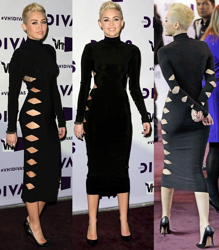 Miley Cyrus wears an Omo by Norma Kamali 'Alligator' dress with cut-out details