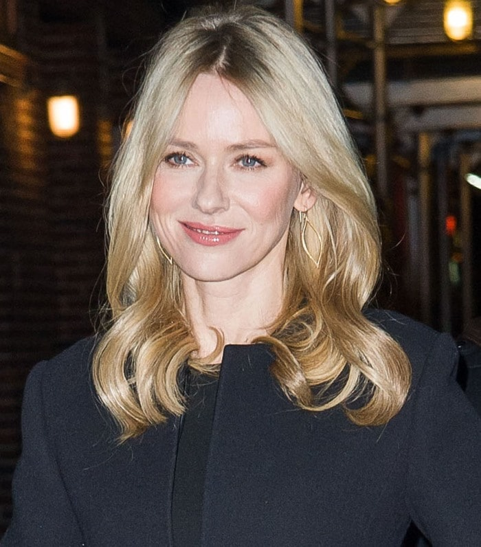 Naomi Watts wears her hair down as she heads to the Ed Sullivan Theatre