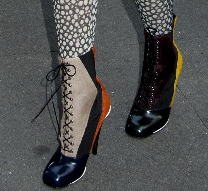 Nicki's mismatched Fendi mixed-media haircalf lace-up booties
