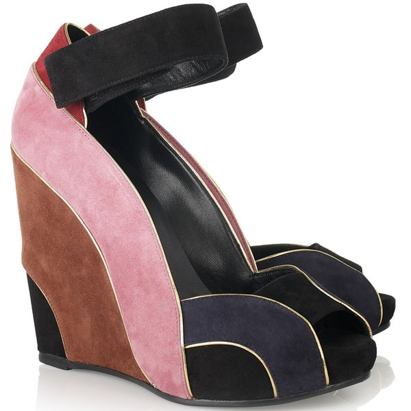 Pierre Hardy Colorblock Suede Wedges