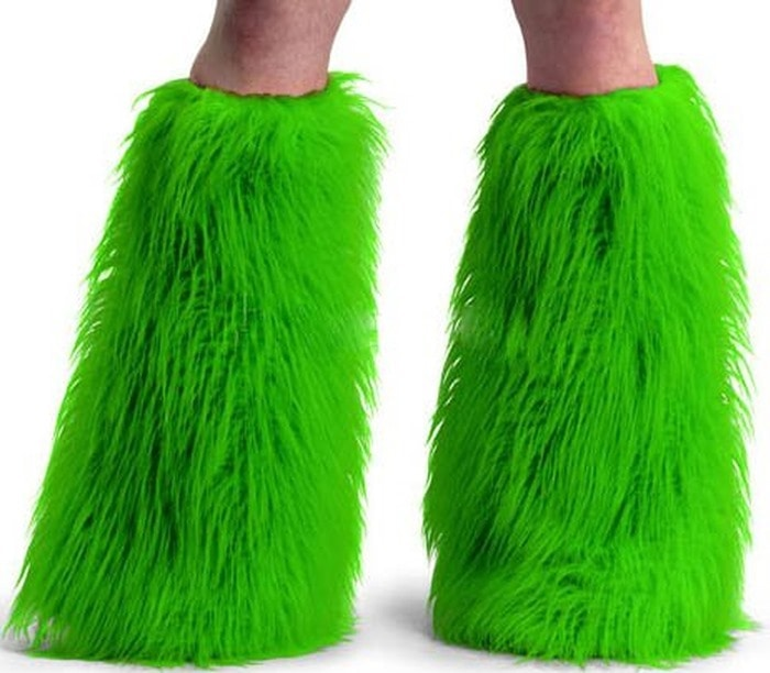 Pleaser Faux Fur Boot Sleeves in Neon Green