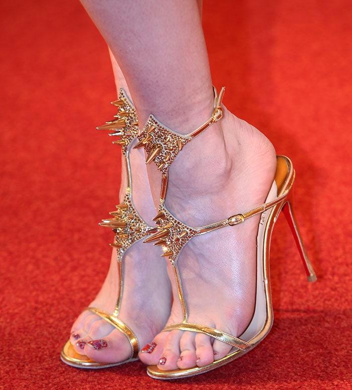 Rita Ora displays her toes in Christian Louboutin sandals