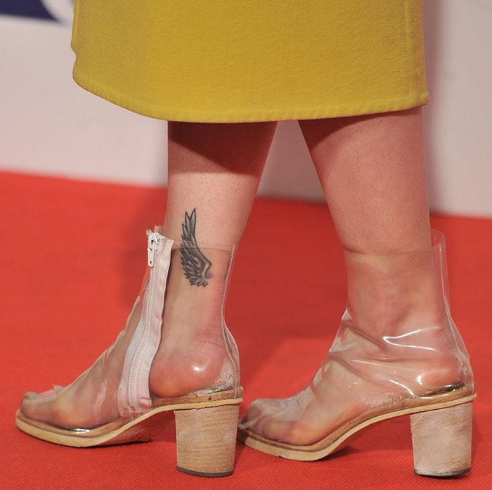 Rita Ora's sweaty feet and tattoo in clear Jeffrey Campbell booties