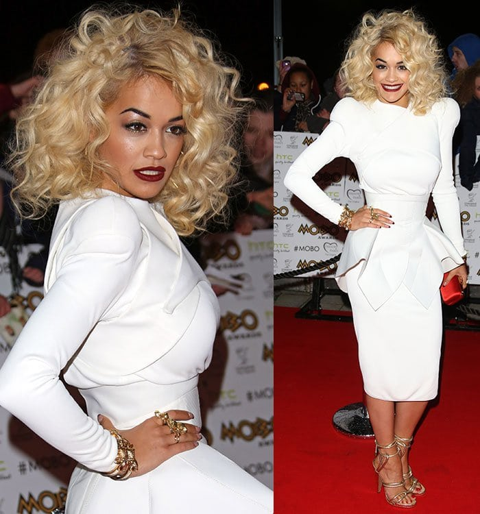 Rita Ora wears her curly hair down at the 2012 MOBO Awards