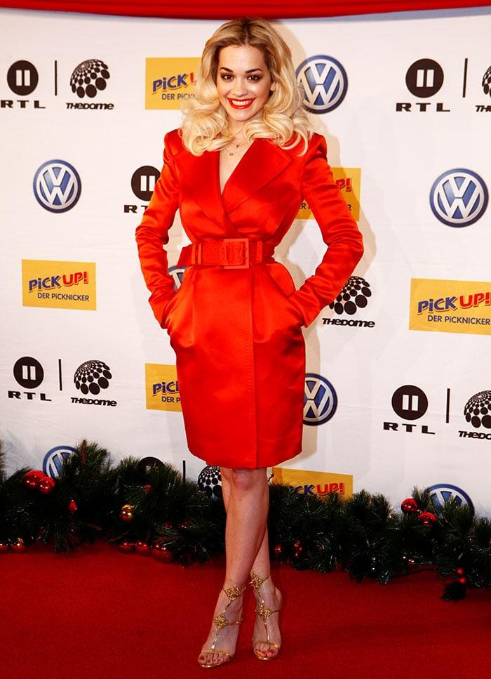Rita-Ora-red-coat-dress-Dome-64-show
