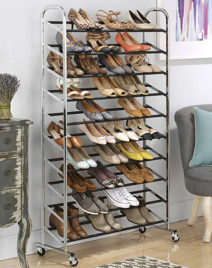 Whitmor 50 Pair Rolling Shoe Rack