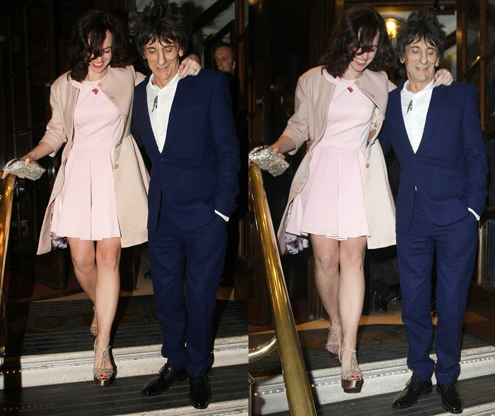 Ronnie Wood and Sally Humphreys are all smiles after their wedding reception