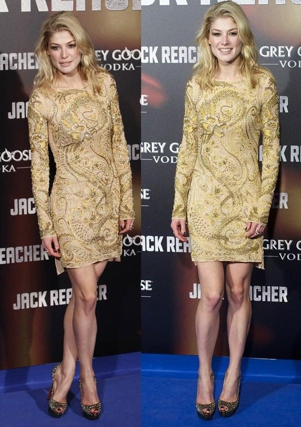Rosamund Pike flaunted her hot long dress in an embellished dress