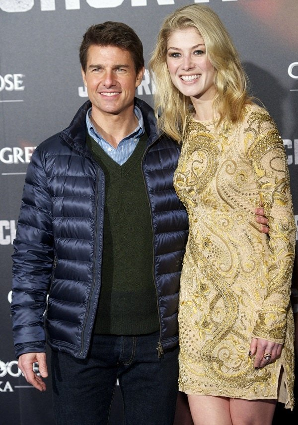 Tom Cruise and Rosamund Pike at the 'Jack Reacher' film premiere at Callao Cinema in Madrid on December 13, 2012