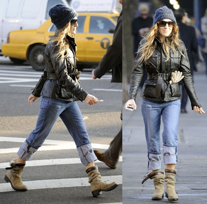 Sarah Jessica Parker wore an awesome pair of casual slouchy tan boots, cuffed jeans, a warm black coat, a cool hat, and sunnies