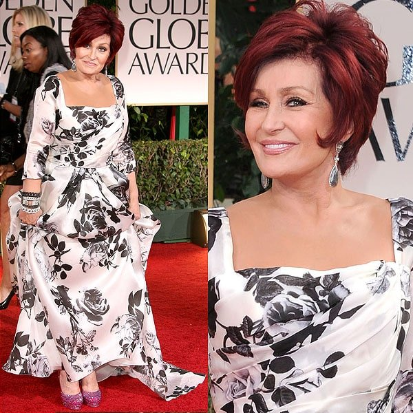Sharon Osbourne showing off her shoes to the cameras at the 69th Annual Golden Globe Awards