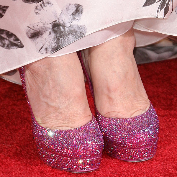 Sharon Osbourne's crystallized fuchsia pink shoes