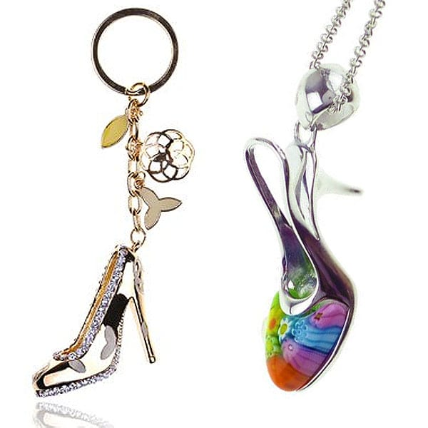 We like this multicolor millefiori stiletto pendant for the colorful detail on the toe