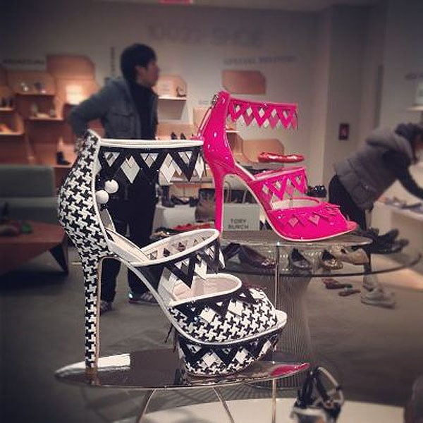 Sophia Webster spring 2013 houndstooth print and triangle cutout platform sandals