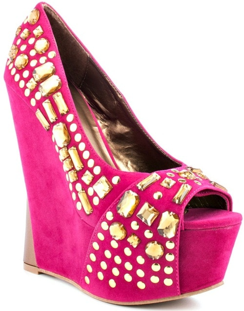 Promise Lux Embellished Peep-Toe Wedges
