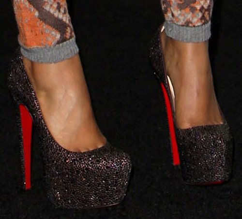 A closer look at Nicki's crystal-encrusted Christian Louboutin Daffodiles