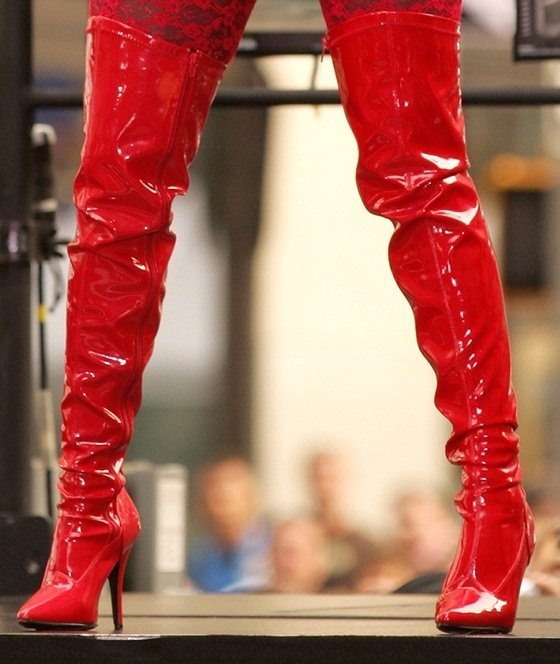 A closer look at Nicki's red patent boots