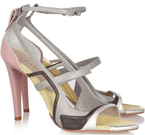 jil sander colorblock leather sandals