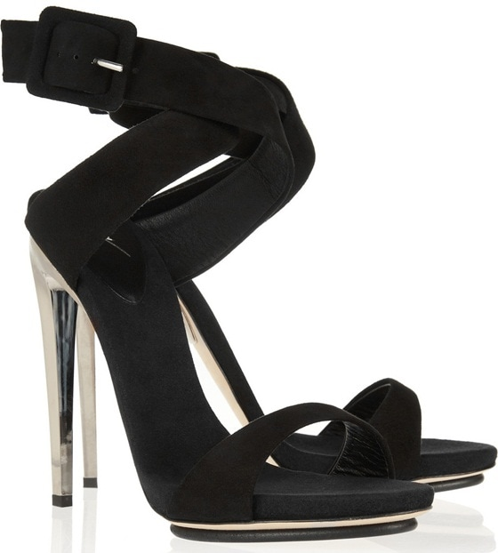 giuseppe zanotti metal heel suede sandals