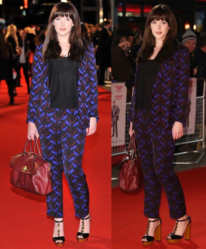 Alexandra Roach wears a bright printed pantsuit on the red carpet