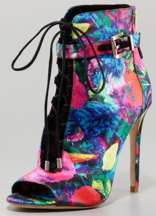 B Brian Atwood Floral-Print Satin Booties