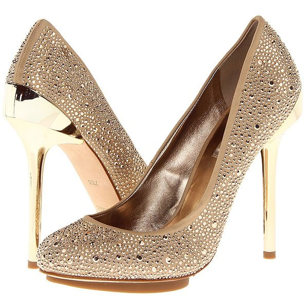 A mirrored-metal heel elevates a party-perfect pump splashed with sparkly crystals