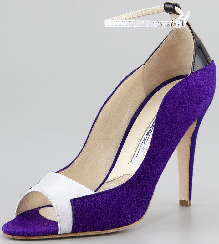 Brian Atwood Blue Evie Contoured Suede Anklewrap Pump Purpleblackwhite