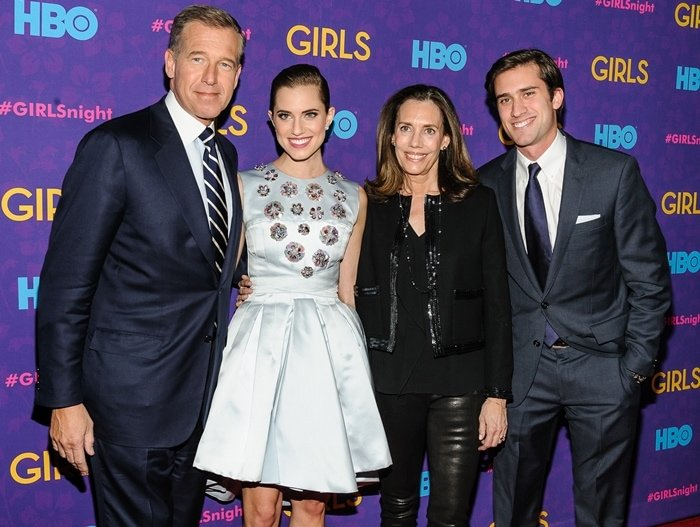American journalist Brian Douglas Williams with his daughter, actress Allison Williams, his son, sportscaster Doug Williams, and his wife Jane Gillan Stoddard