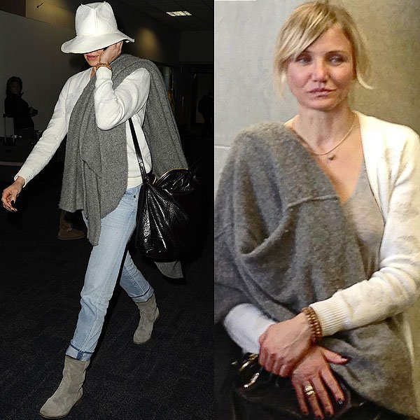 Even a floppy hat, a baggy sweater, and simple jeans look stylish on Cameron Diaz