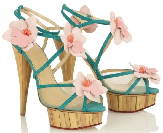 """Charlotte Olympia """"Botanica"""" Strappy Orchid Sandals"""