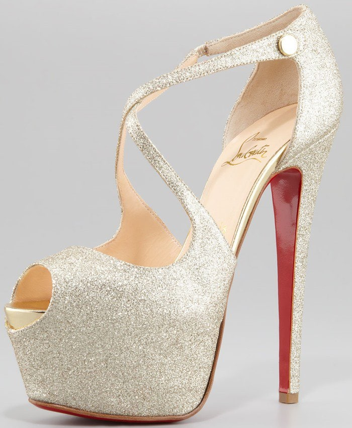 Christian Louboutin Exagona Glitter Crisscross Red-Sole Pumps in Gold