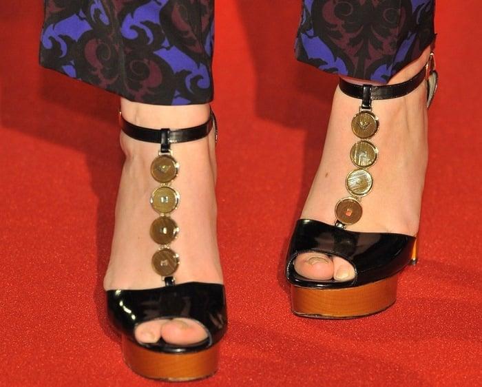 Alexandra Roach's feet in coin-embellished Armani heels