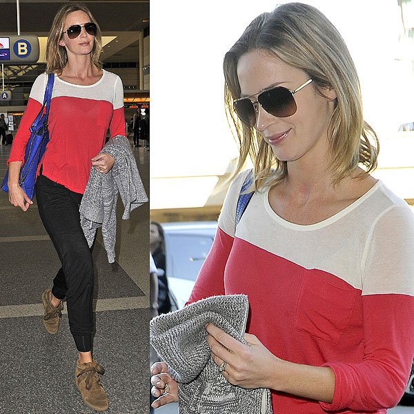 Emily Blunt's on-trend suede wedge sneakers keep her looking stylish instead of sloppy