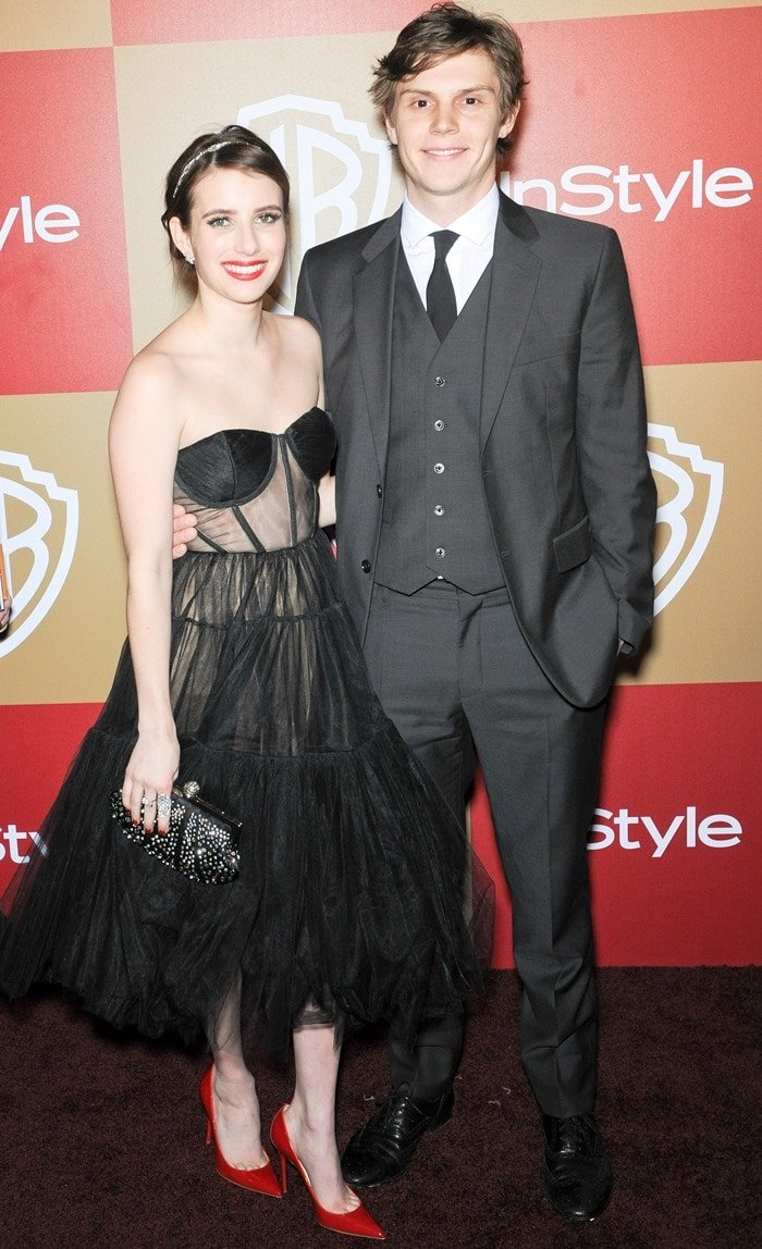 Emma Roberts and Evan Peters at the InStyle And Warner Bros. Golden Globe After Party