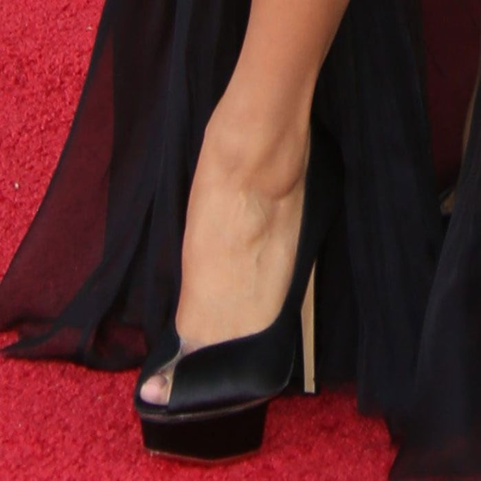 "Eva Longoria wearing black ""Daphne"" pumps from Charlotte Olympia"