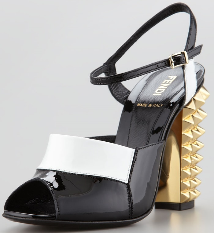 Fendi Patent Pyramid Stud High-Heel Sandals