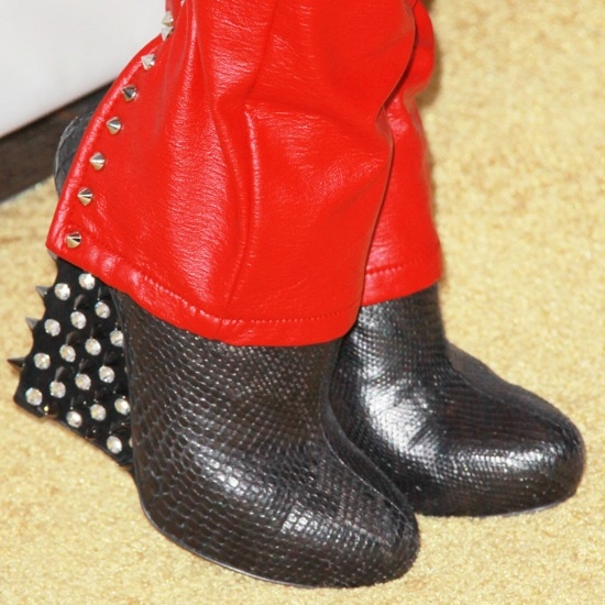 Bleona in spiked-heel booties