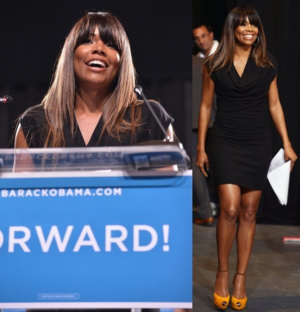 Gabrielle Union attends an event hosted by First Lady Michelle Obama in support of US President Barack Obama at the James L. Knight Center in Miami, November 2, 2012