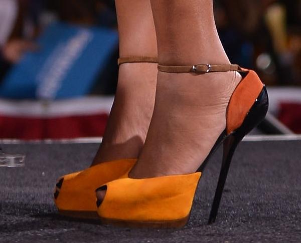 Gabrielle Union's towering peep-toe pumps