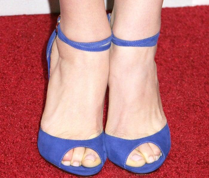 Georgia King's feet in blue peep-toe heels