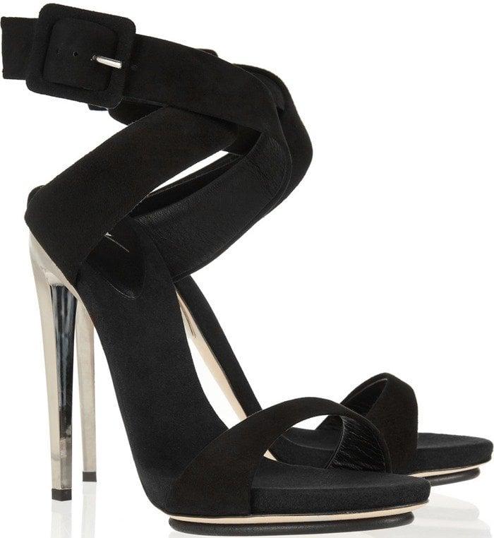 Giuseppe Zanotti Metal-heeled suede sandals