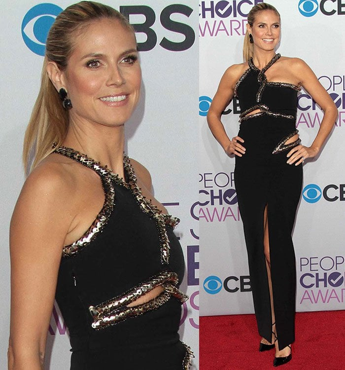 Heidi Klum opted for a black and metallic embellished dress from the Julien Macdonald Spring 2013 collection