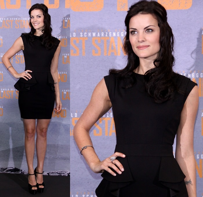 Jaimie Alexander wearing a peplum dress from Ted Baker and black satin sandals from Brian Atwood