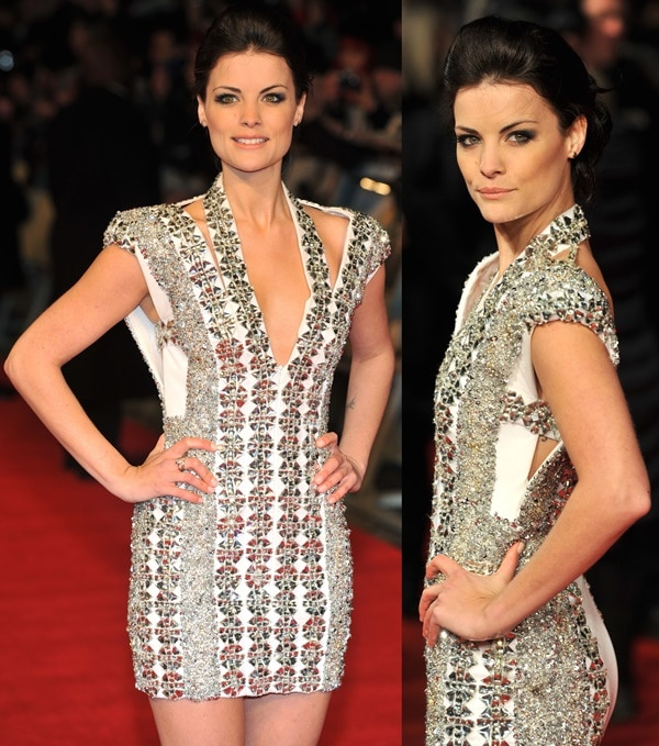 Jaimie Alexander throws a smoldering look over her shoulder as she poses on the red carpet