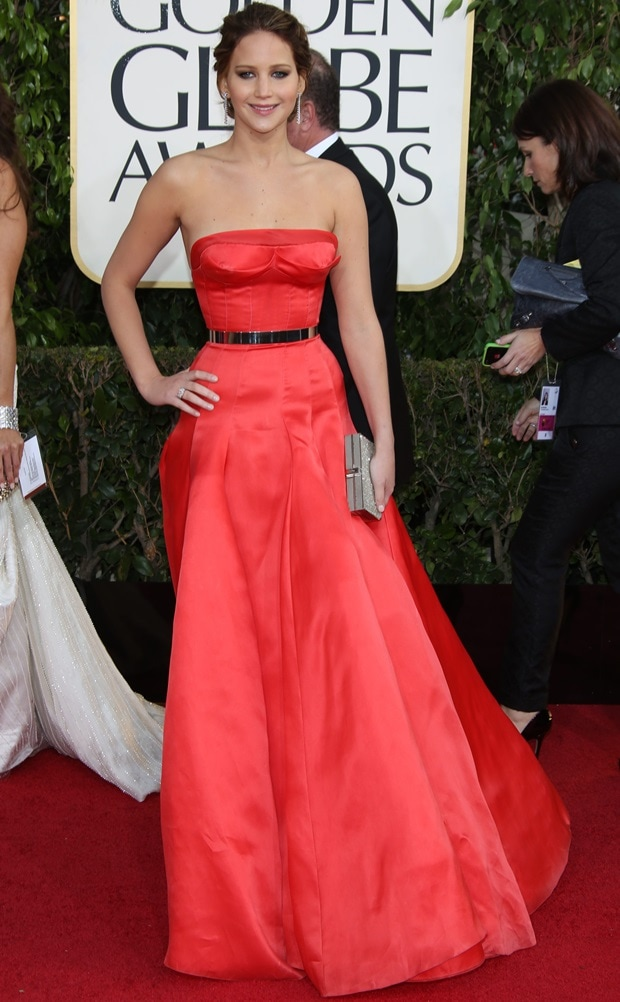 Jennifer Lawrence in a red Christian Dior Fall 2012 Couture gown at the 70th Annual Golden Globe Awards