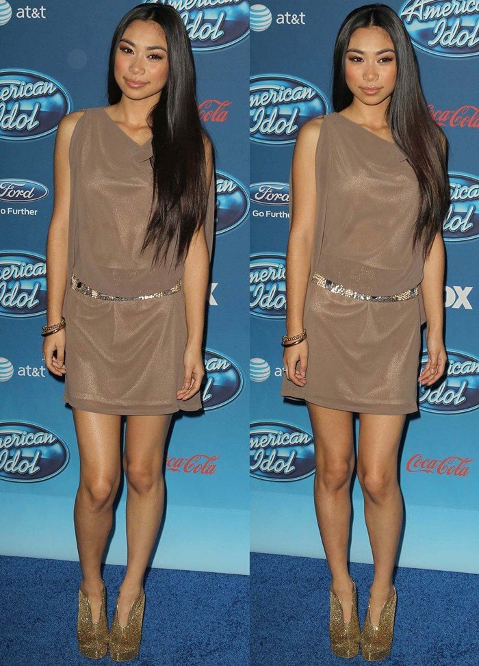 Jessica Sanchez attends the American Idol Season 12 premiere event held at Royce Hall at University of California Los Angeles, in Los Angeles, California, on January 9, 2013