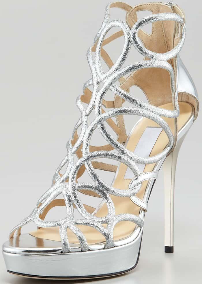 Jimmy Choo 'Blast' Glitter Platform Cage Sandals